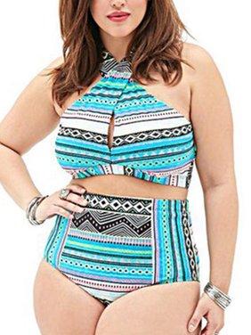 Women Plus Size High Waist Bandage Swimwear Swimsuit Padded Beachwear Bikini Set