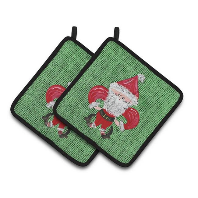 Carolines Treasures 8746PTHD Christmas Santa Fleur De Lis Pair of Pot Holders, 7.5 x 3 x 7.5 in. - image 1 of 1