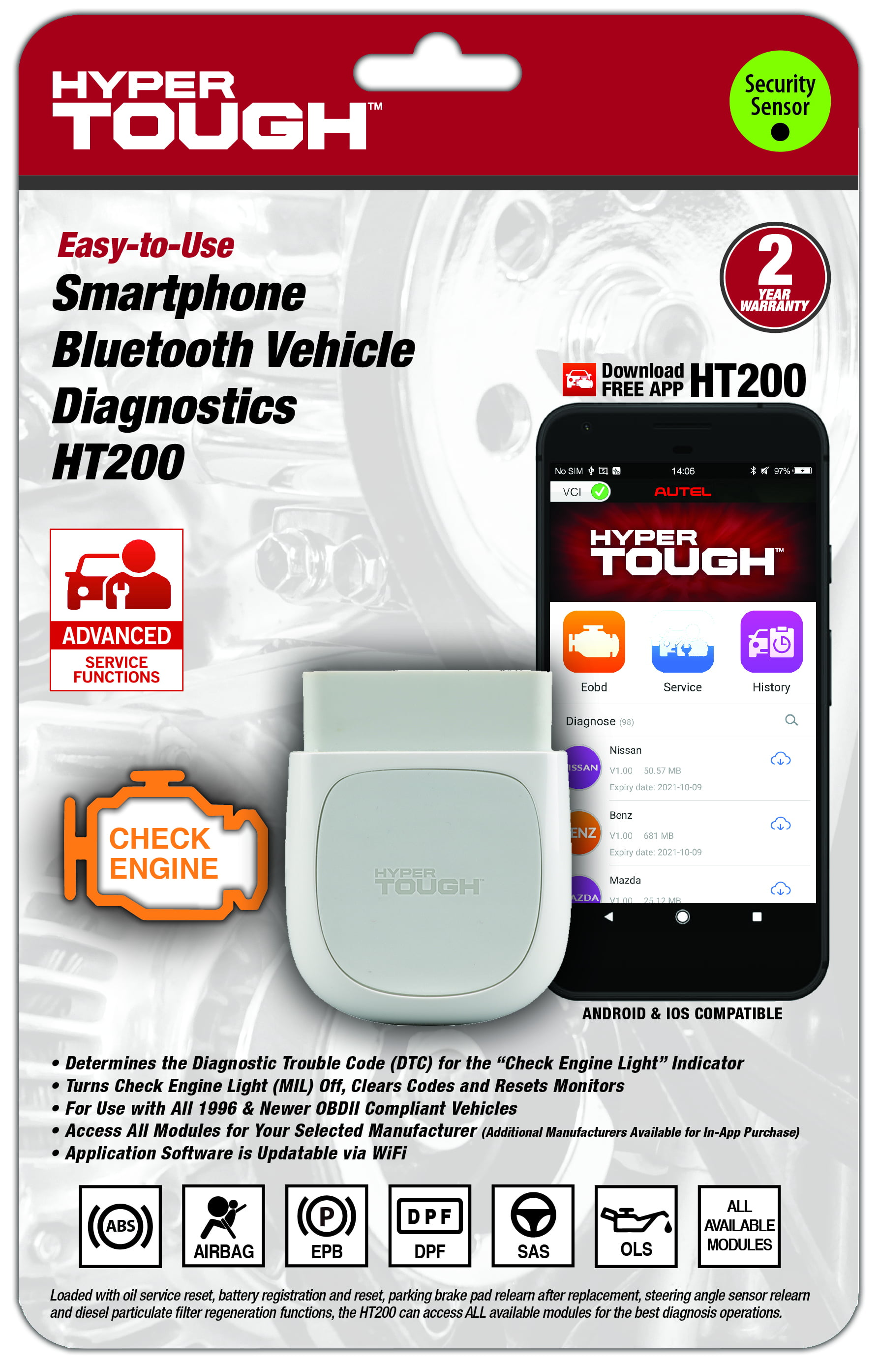 Autel HT200 Hyper Tough OBD2 CAN Bluetooth All Systems Scan Tool