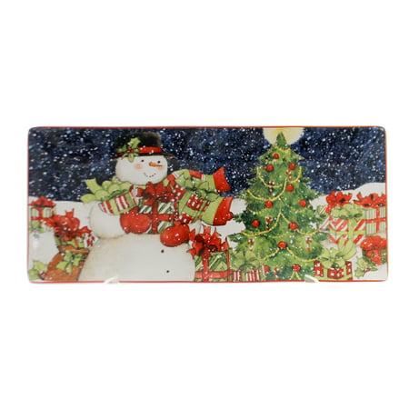Tabletop STARRY NIGHT RECTANGLE TRAY Ceramic Snowman Christmas Tree 22849