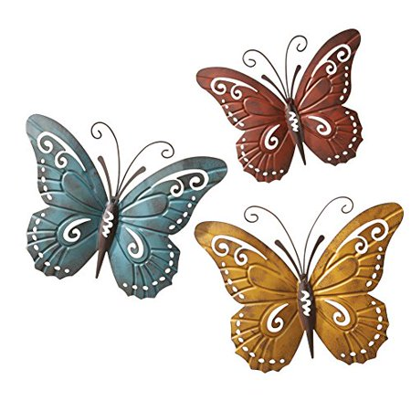 Nature Inspired Metal Butterfly Wall Art Trio ()