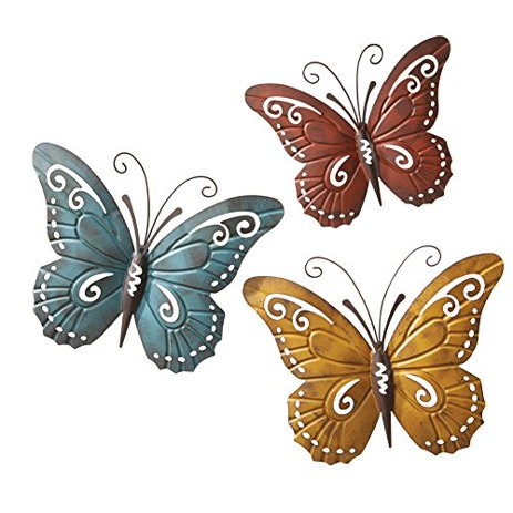 Metal Erfly Wall Art Trio