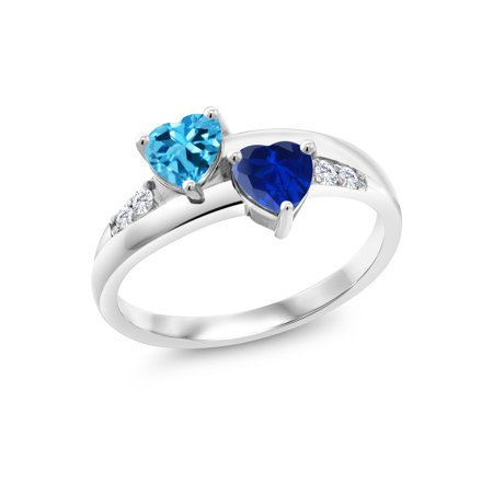 1.25 Ct Swiss Blue Topaz Blue Simulated Sapphire 925 Sterling Silver Lab Grown Diamond Ring (Blue Blue Sapphire Diamond)