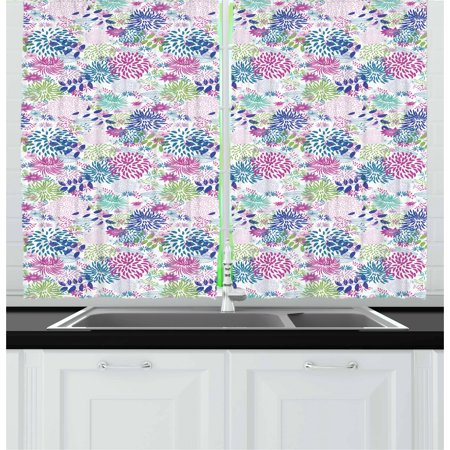 Nature Curtains 2 Panels Set, Abstract Bedding Plants in Lively Colors Garden Rural Summer Field in Country Theme, Window Drapes for Living Room Bedroom, 55W X 39L Inches, Multicolor, by Ambesonne ()