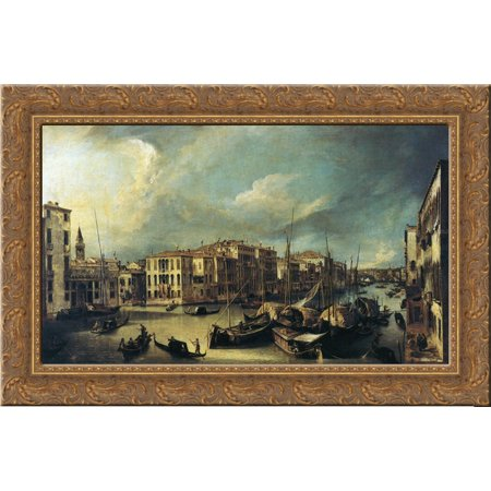 Grand Canal Looking Northeast from near the Palazzo Corner Spinelli to the Rialto Bridge 24x18 Gold Ornate Wood Framed Canvas Art by Canaletto