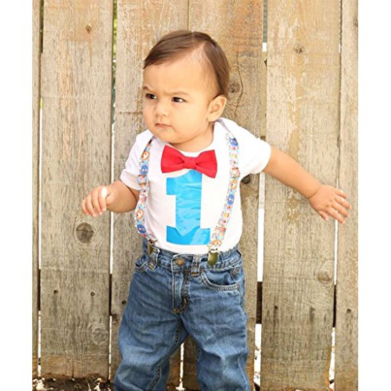a491fa8c6a1f Noah's Boytique Hot Air Balloon Theme Baby Boys First Birthday Party Outfit  Red Bow Turquoise Number One 6-12 Months - Walmart.com