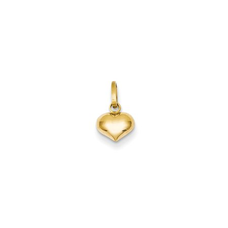Solid 14k Yellow Gold Puffed Heart Pendant Charm (7mm x (Gold Slide Charm)