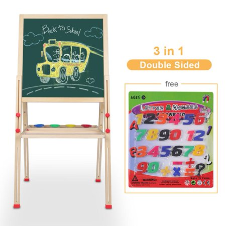 EECOO Wooden Kid's Art Easel with Accessories, All-in-One Wooden Kid's Art Easel with Accessories](Art Easel For Kids)