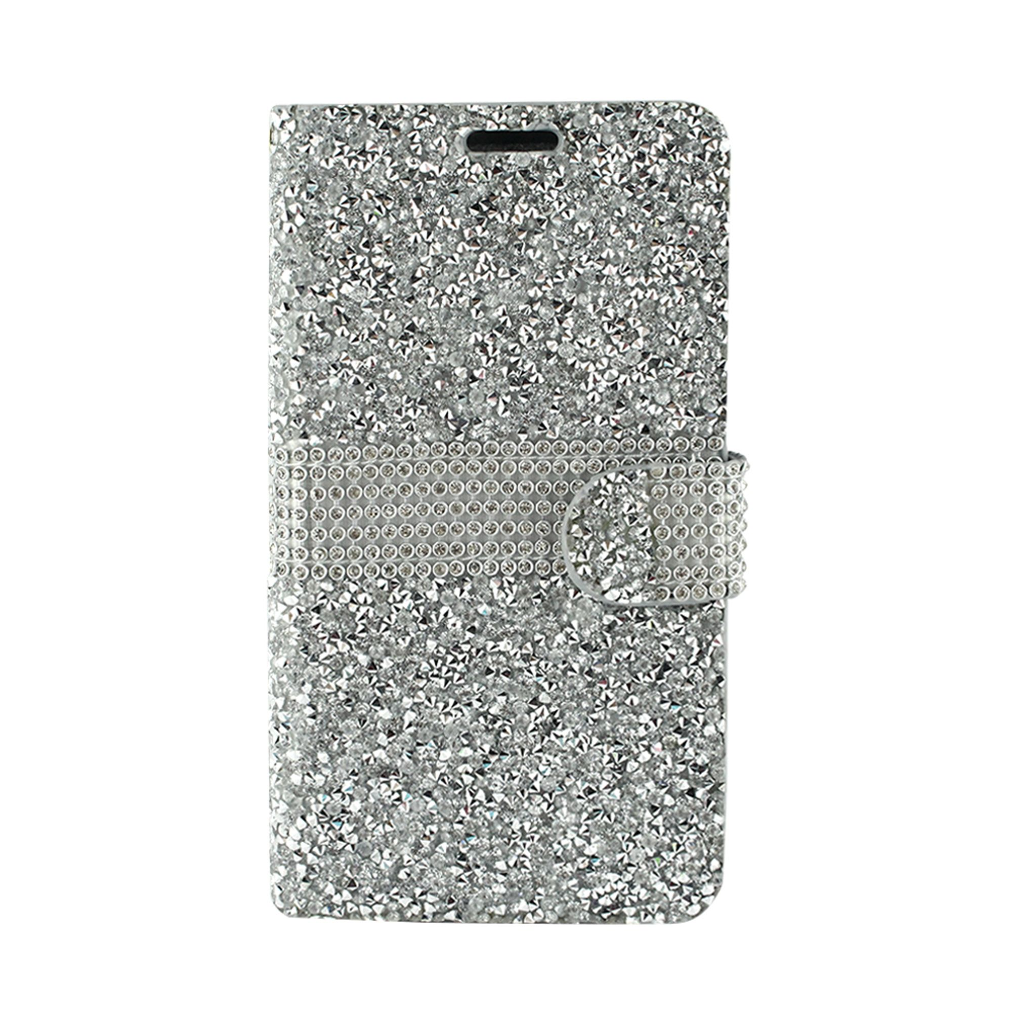 ZTE Blade Force Case, ZTE Blade X Case, by Insten Folio Flip Leather Rhinestone Diamond Bling Case Cover with ID Credit Card Slot Wallet Flap Pouch For ZTE Blade Force / ZTE Blade X (Ultra Slim Fit)