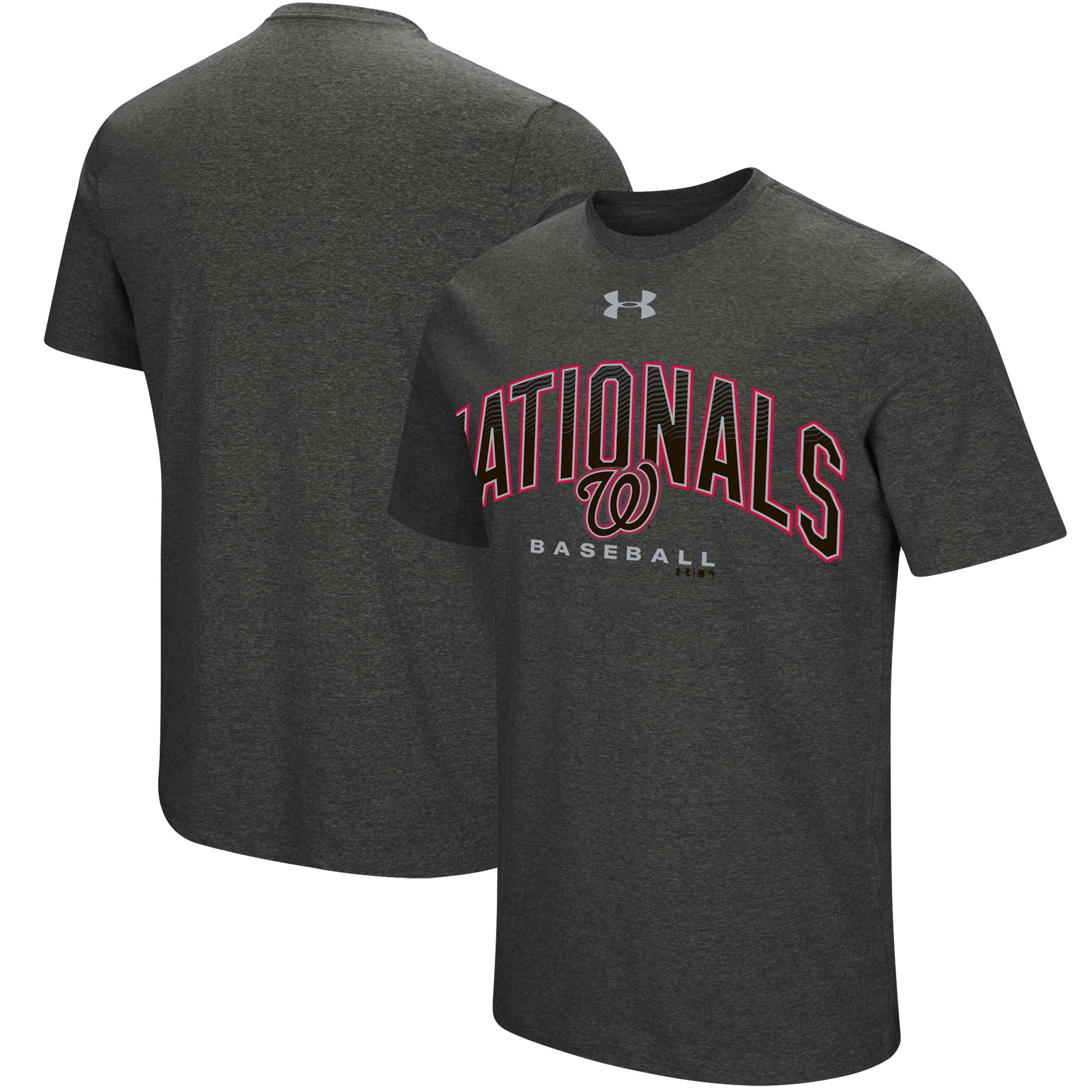 Washington Nationals Under Armour Passion Reflective Arch T-Shirt - Heathered Charcoal