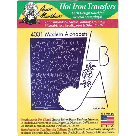 Modern Alphabets Aunt Martha's Hot Iron Embroidery (Rock Band Iron On Transfers For T Shirts)