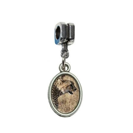 Cheetahs On African Plain European Style Bracelet Oval Charm