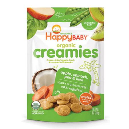 Nurture Inc. (Happy Baby), Organic Creamies, Freeze-Dried Veggie & Fruit Snacks, Apple, Spinach, Pea & Kiwi, 1 oz(pack of