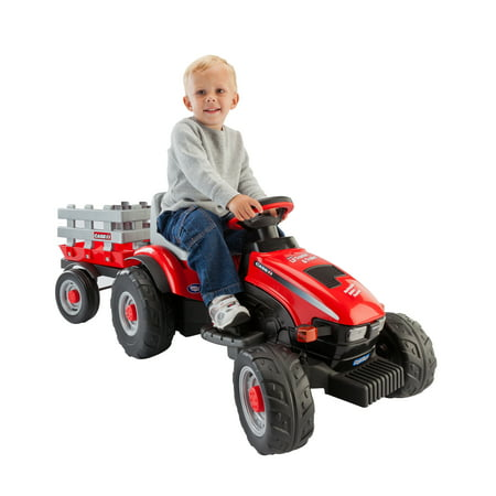 - Peg Perego Case IH Lil' Tractor and Trailer 6-Volt Battery-Powered Ride-On