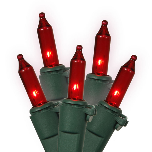 Set of 100 Red Mini Christmas Lights - Green Wire