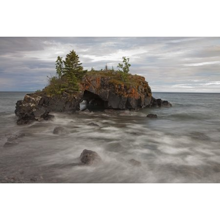 Water Coming Into Shore Around A Rock Formation On Lake Superior Grand Portage Minnesota United States Of America Canvas Art - Susan Dykstra  Design Pics (19 x 12)