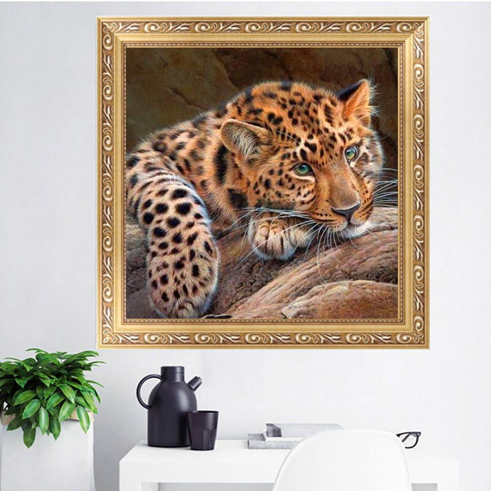 Girl12Queen 5D Diamond Leopard Painting Cross Stitch Kit DIY Decorative Bedroom Wall Craft
