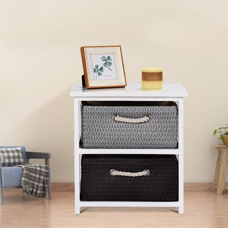 Side Table With Storage.Gymax Wooden Nightstands 2 Weaving Baskets Bedside Table Storage Organizer Side Table