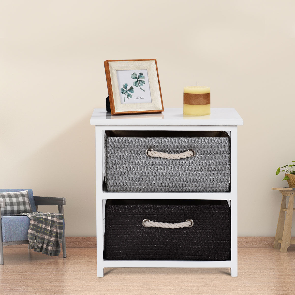Gymax Wooden Nightstands 2 Weaving Baskets Bedside Table Storage Organizer Side Table