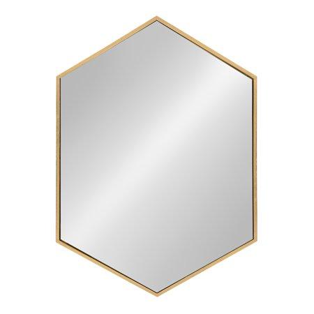 Kate and Laurel - McNeer Large Hexagon Metal Wall Mirror, 31 x 22, Gold ()