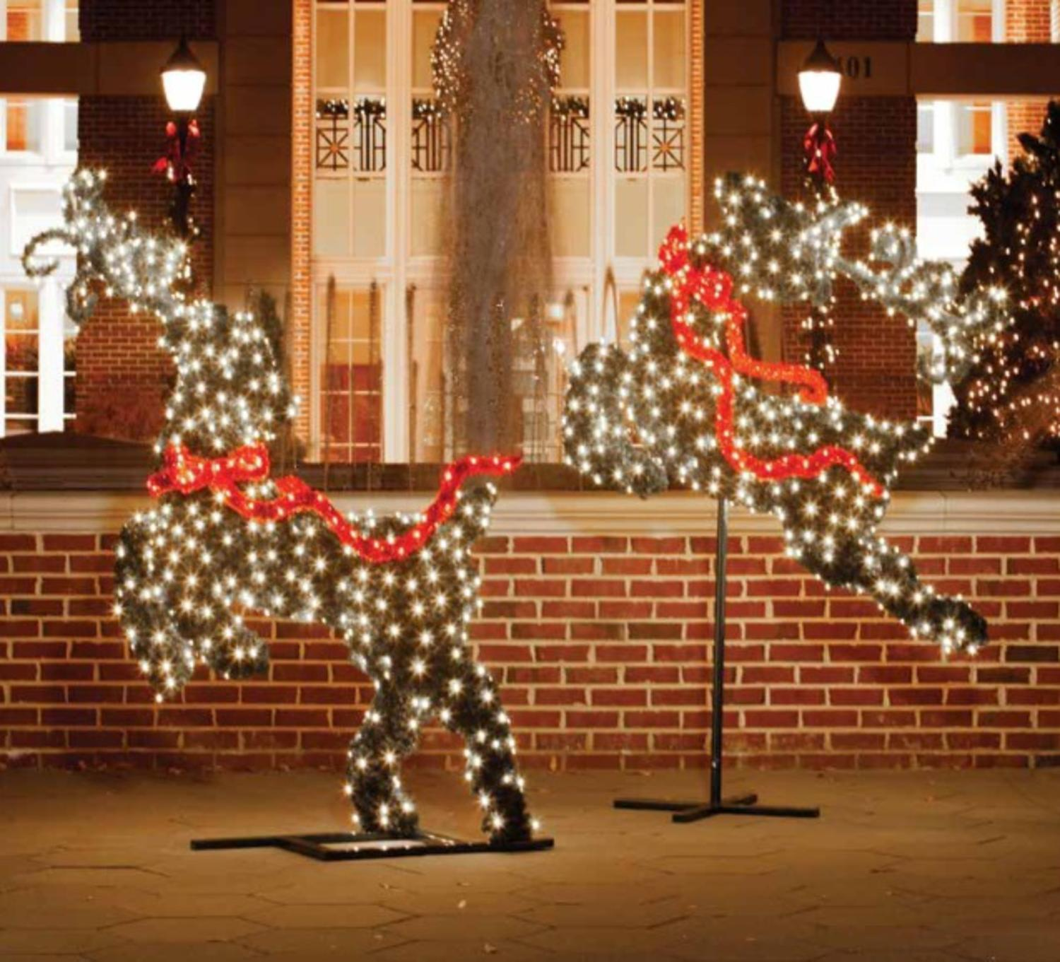 6 giant commercial grade led lighted flying reindeer topiary outdoor christmas decoration