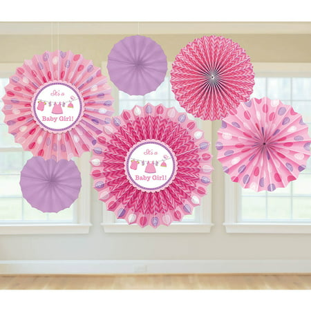 Shower With Love Baby Girl Fan Decorations (6 Count) - Baby Shower Party Supplies](Girl Baby Shower Supplies)