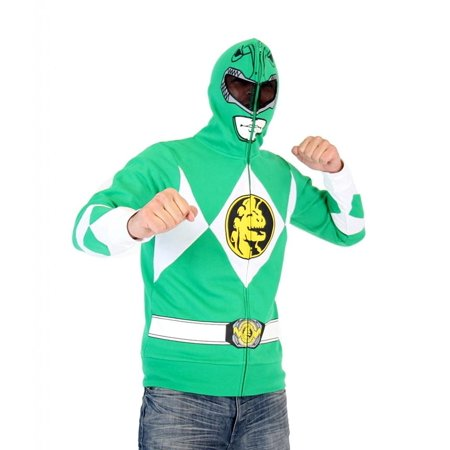Power Rangers I Am Green Ranger Adult Full Zip Costume Hoodie - Power Ranger Hoodies For Adults