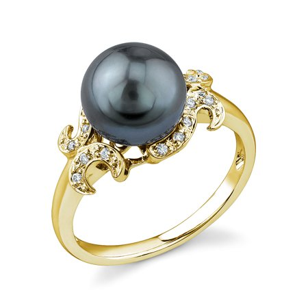 8mm Tahitian South Sea Cultured Pearl & Diamond Crown Jewel Ring in 14K Gold ()