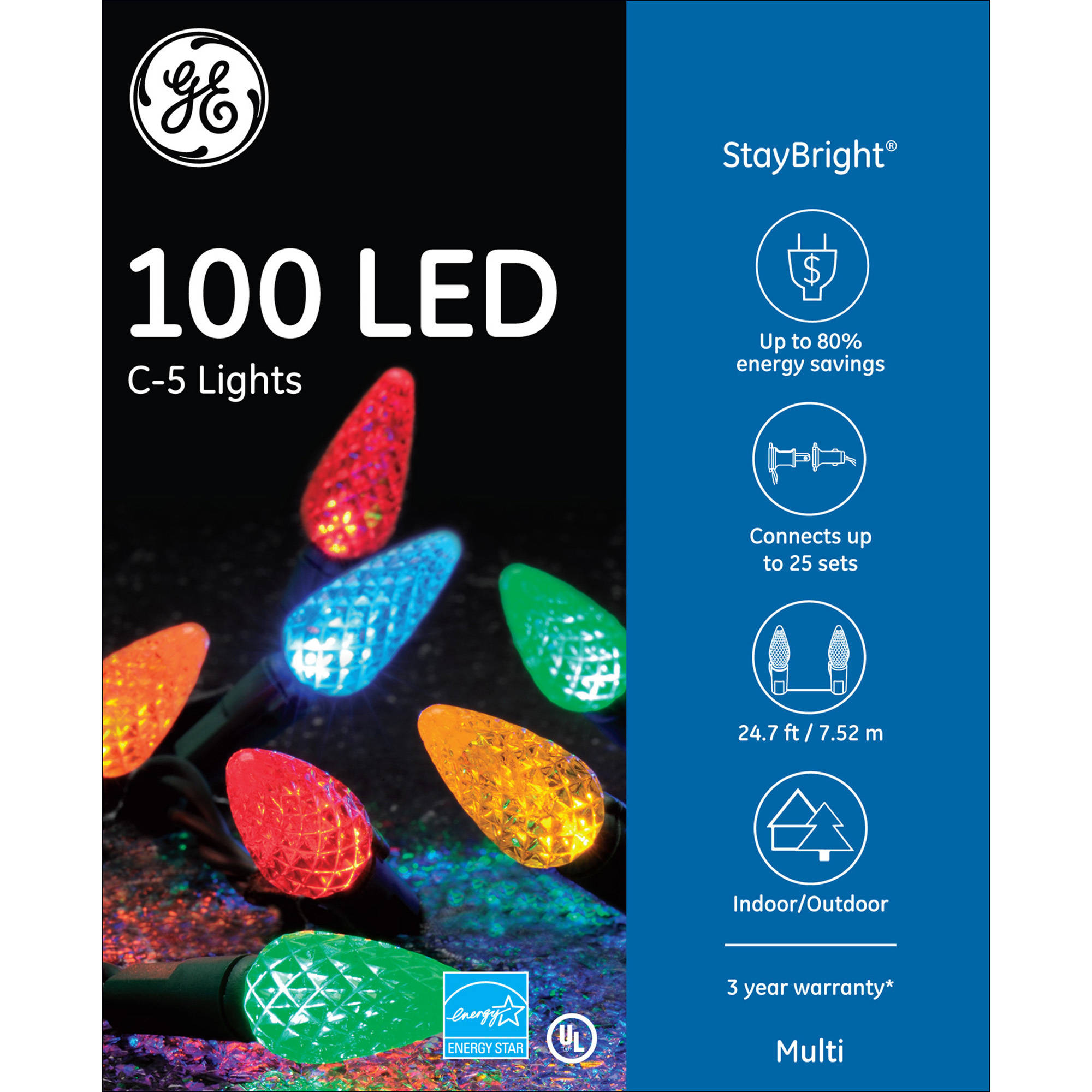 Ge Staybright C5 Bulb Led Christmas Light String Set 100