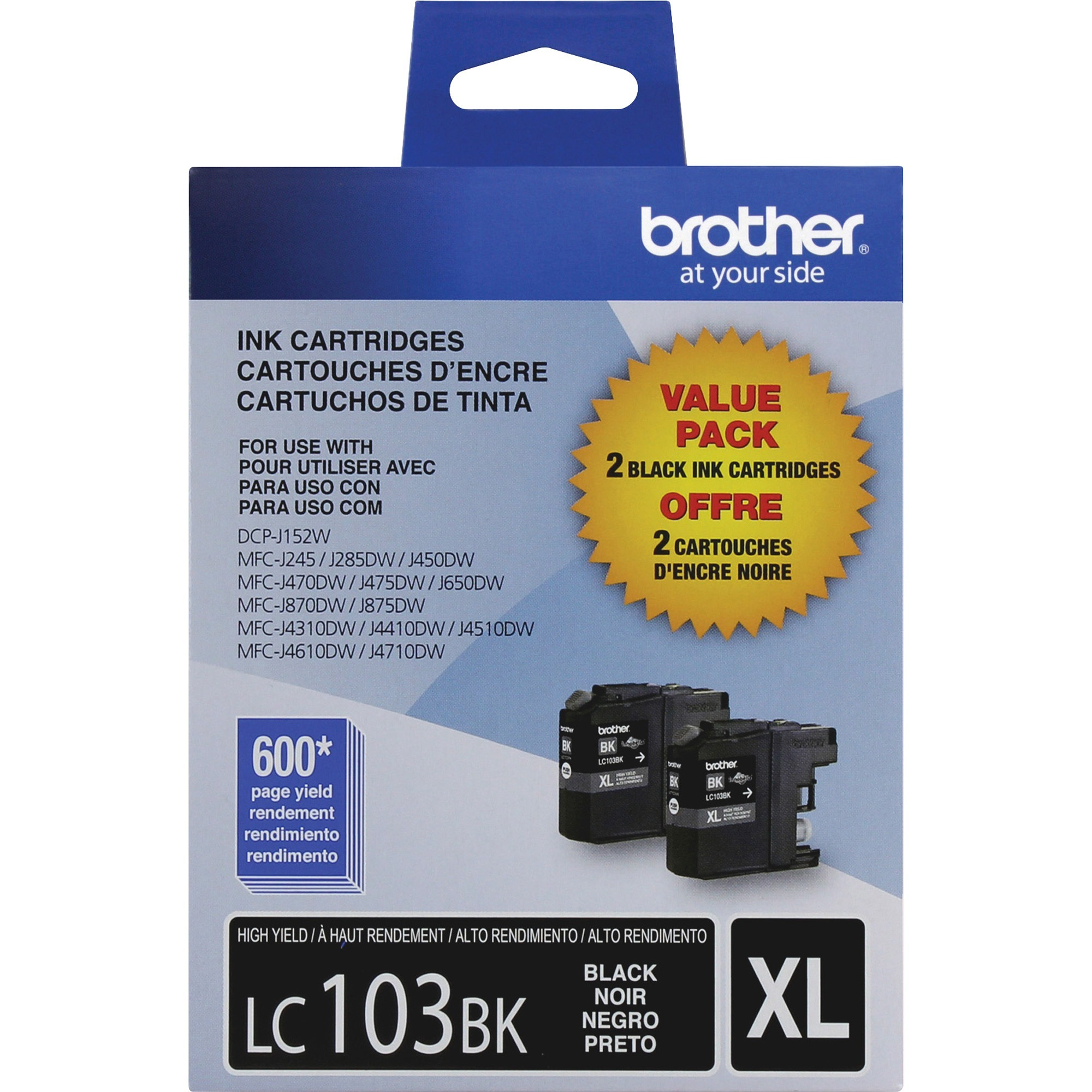 Brother LC1032PKS Innobella High-Yield Ink, Black, 2/PK
