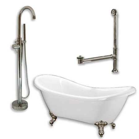 Acrylic Tub Package - Acrylic Double ended Slipper Tub with a Pedestal, W/ holes 2