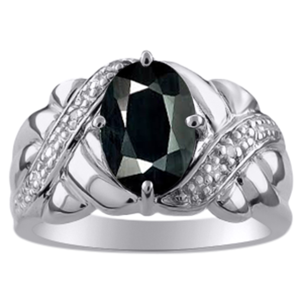 Ladies Onyx & Diamond Ring White Gold Plated Sterling Silver