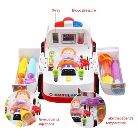 Educational Ambulance Bump and Go Multi function Emergency Vehicle Toy with Medical Equipment, Realistic Sound Effects and Lights,
