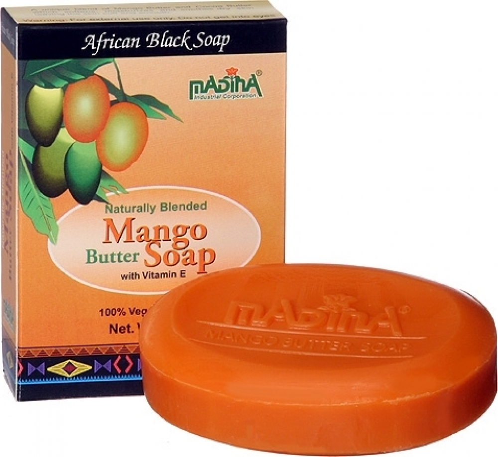 Madina Mango Butter & Vitamin E African Black Soap [2-Pack - Orange - 3.5 oz.]