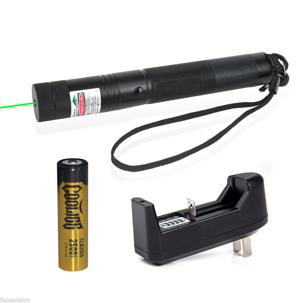Green Laser Pointer Pen 532nm Lazer Visible Beam + Battery + Charger