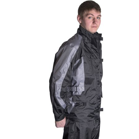 f6923efa5 RoadDog 2 Piece Stay-Dry Motorcycle Rain Suit Waterproof Suit Adult  Silver Black