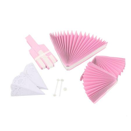 Wedding Party Paper Round 3 Layers Design DIY Handcraft Wheel Fan Pink 2pcs