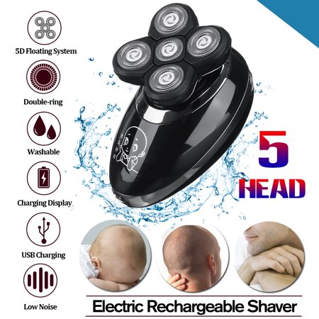 5 in 1 Men Bald Head Shaver Beard Razor Cordless Hair Grooming Trimmer Clipper Wet & Dry Shaver OR 1 PC Replacement Shaver (Best Wet Dry Electric Shaver For Bald Head)