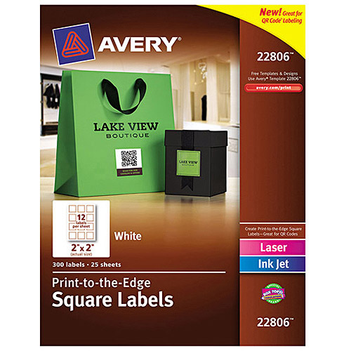 "Avery 22806 Easy Peel Print-to-the-Edge Permanent Adhesive Matte Square Labels with TrueBlock, White, 2"" x 2"", 300 Labels/Pack"