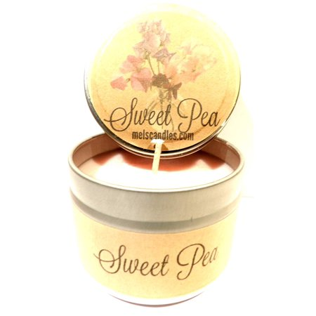Sweet Pea 4oz All Natural Novelty Tin Soy Candle, Take It Any Where Approximate Burn Time 30 (Best Tinned Mushy Peas)