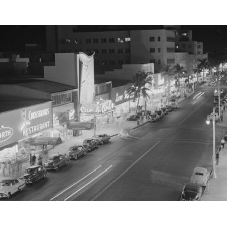 Art Supply Store Miami (USA Florida Miami night view of Lincoln Road showing restaurant and stores Poster)