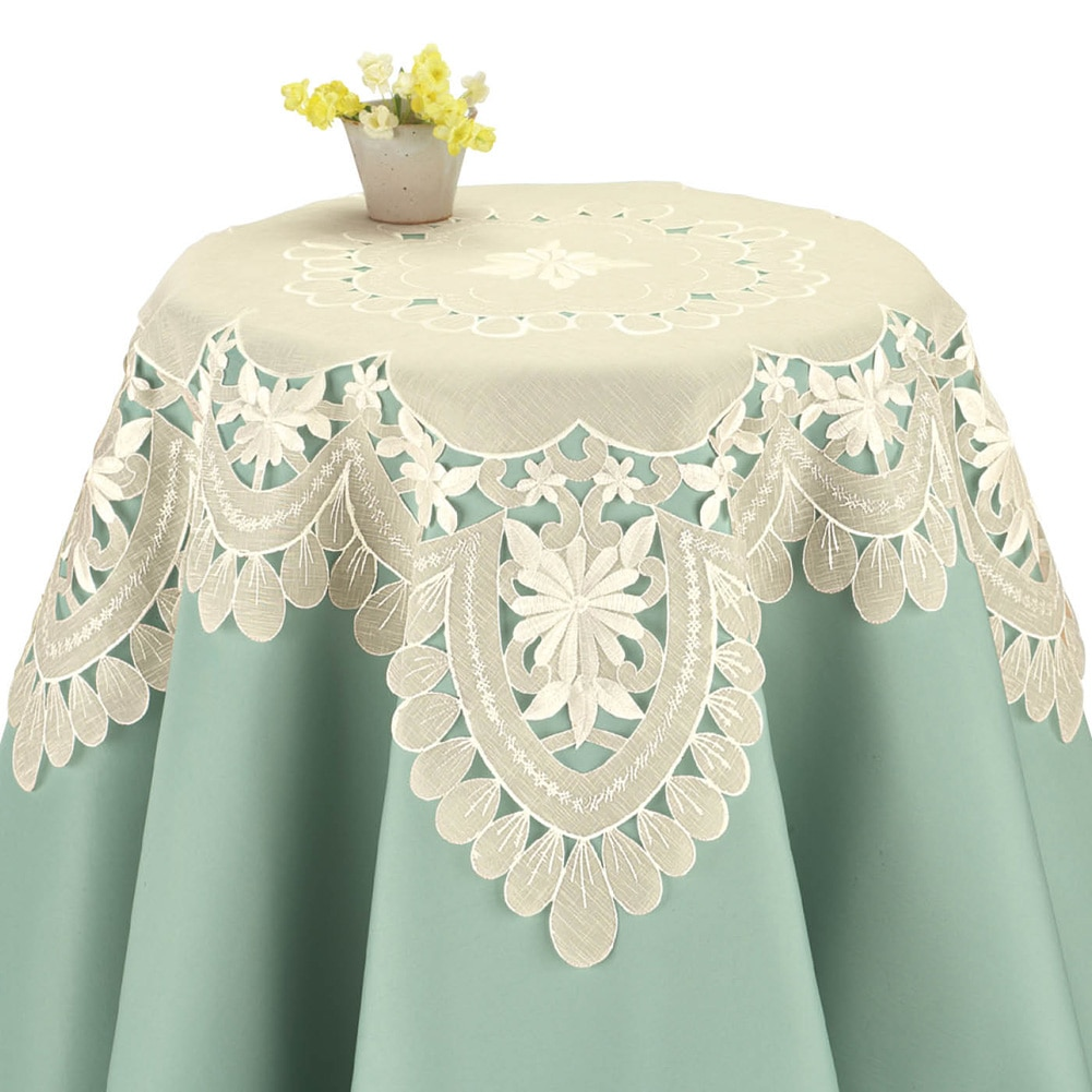 Embroidered Daisy Organza Table Linens, Runner by Collections Etc