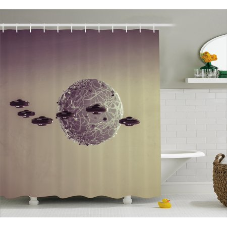 Galaxy Shower Curtain Small Planet Under Ufo Attack Death Star Fantastic Fictional Outer Space War