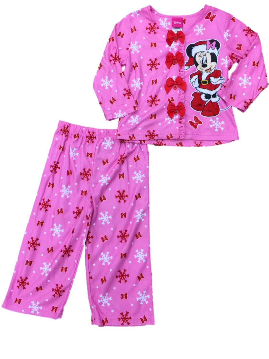 Toddler Girls Pink Minnie Mouse Christmas Pajamas Snowflake Holiday Sleep Set