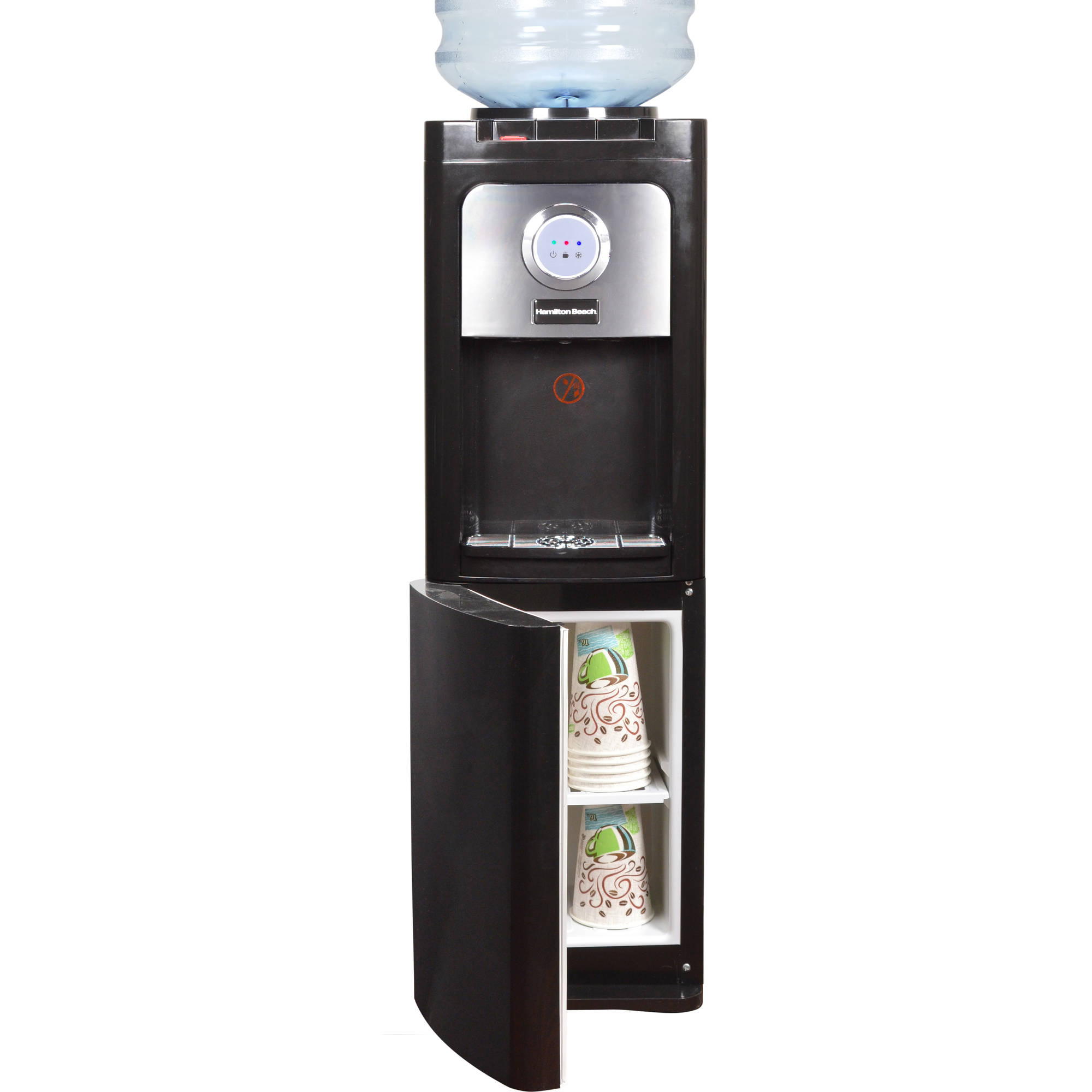 Hamilton Beach Tl 5 5w Top Loading Water Dispenser With Storage Cabinet Hot And Cold Temperatures Black