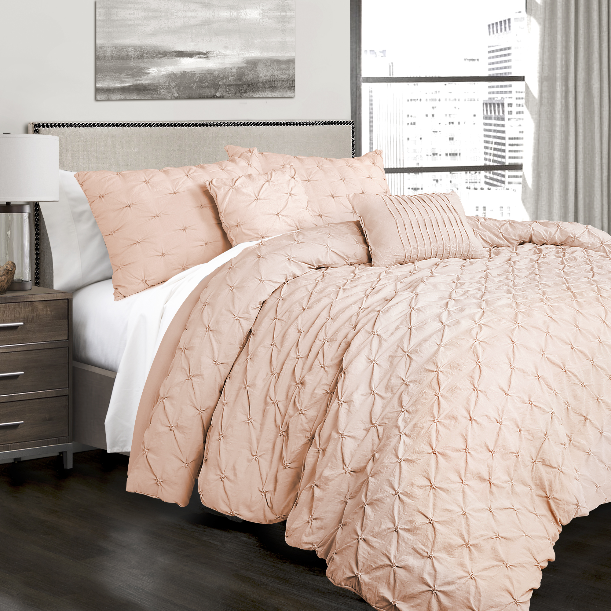 King 5pc Ravello Pintuck Comforter Set Blush - Lush Décor
