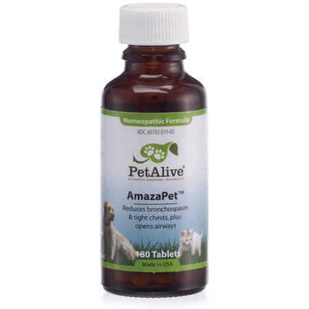 PetAlive AmazaPet - Natural Homeopathic Remedy Reduces Bronchospasms, Wheezing and Labored Breathing - Opens Airways and Relieves Chest Discomfort in Dogs and Cats - 180 Tablets ()