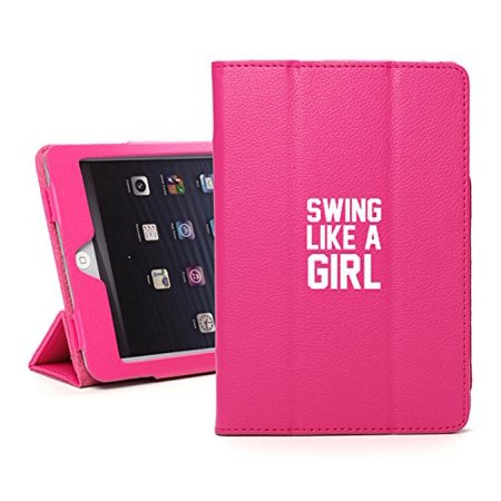 For Apple iPad Mini 1/2/3 Hot Pink Faux Leather Magnetic Smart Case Cover Swing Like A Girl Golf Softball Kettlebell