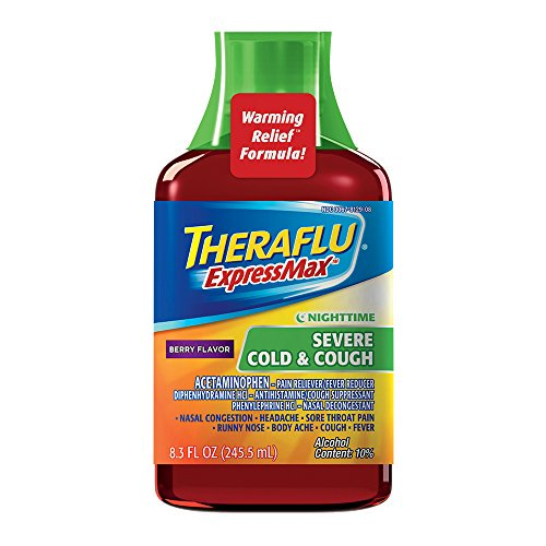 Theraflu ExpressMax Syrup Nighttime Severe Cold & Cough Berry 8.3oz Each