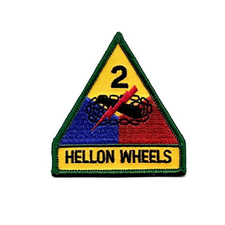 Wheels Patch - Army 2nd Armored Division Hell On Wheels Embroidered Military Patch Sew or Iron AKPM203